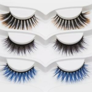 Blonde Purple Blue Black Mink Faux Eyelashes Lash